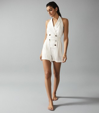 Reiss Merritt - Linen Blend Halterneck Playsuit in Cream