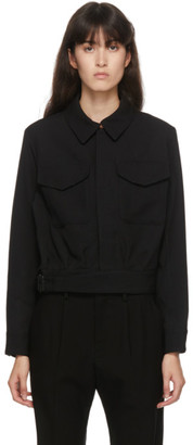 Regulation Yohji Yamamoto Black Gabardine Wool Military Jacket