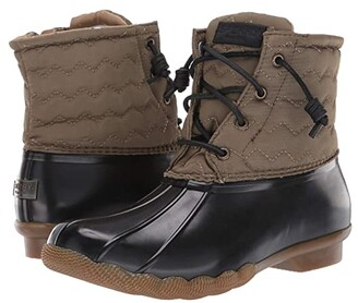 Sperry Saltwater Chevron Quilted Nylon (Olive) Women's Rain Boots