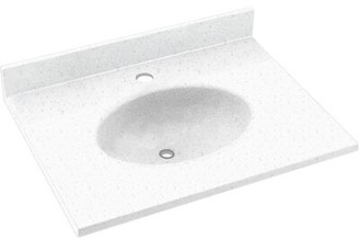 "Swan Ellipse Solid Surface 19"" Single Bathroom Vanity Top Top Finish: Arctic Granite"