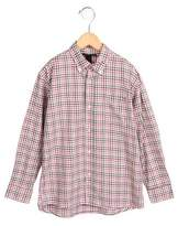 Oscar de la Renta Girls' Checkered Button-Up Top