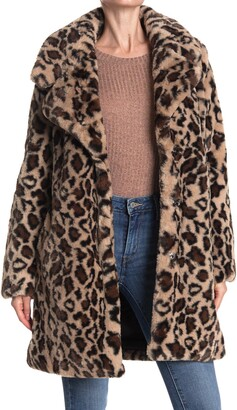 Laundry by Shelli Segal Leopard Print Faux Fur Coat