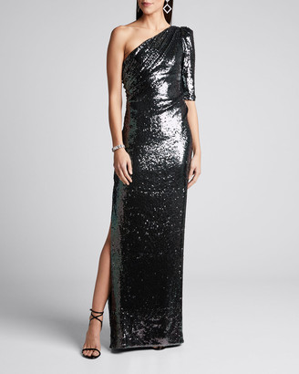 Rachel Gilbert Liquid Draped Sequin Gown