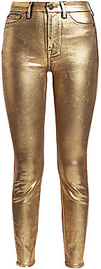7 For All Mankind Women's High-Rise Metallic Ankle Jeans