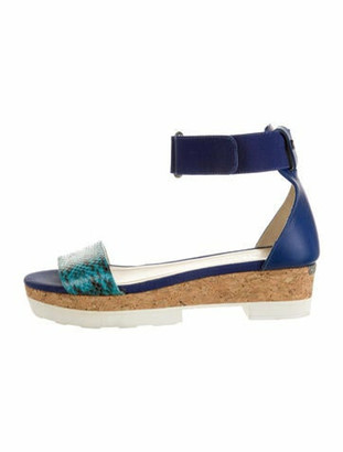 Jimmy Choo Leather Animal Print Espadrilles Blue