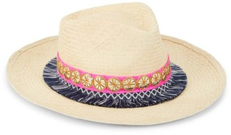 Glamour Puss Embroidered Straw Panama Hat