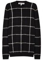 Mcq Alexander Mcqueen Black Grid-jacquard Wool Blend Jumper