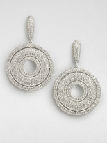 Crystal Accented Open Center Circle Drop Earrings