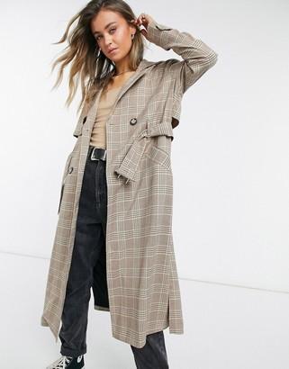Pimkie trench coat in brown checks