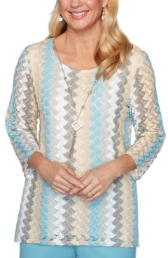 Alfred Dunner Petite Chesapeake Bay Lace Knit Necklace Top