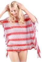 MissShorthair Womens Colorful Striped Blouse Tops Crochet Pullover Shirts Bikini Cover Up Beachwear