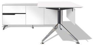 """Upper Squareâ""""¢ Waldrup L-Shape Executive Desk Upper Squarea Color: Gray Wood, Orientation: Left Hand Return"""