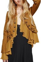 HaoDuoYi Womens Vintage Ruffle Lightweight Open Front Coat Cardigan Jacket(L,Yellow)