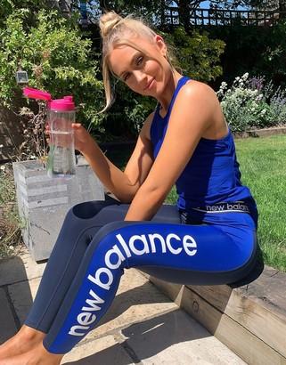 New Balance Running Relentless high rise leggings in blue and black