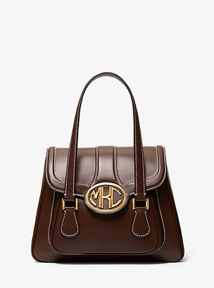 Michael Kors Monogramme Medium Leather Satchel - Nutmeg