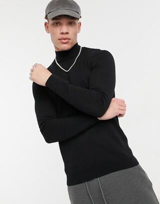 Asos DESIGN muscle fit turtleneck sweater in black