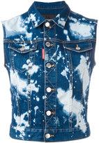 DSQUARED2 bleached sleeveless denim shirt - women - Cotton/Spandex/Elastane - 38