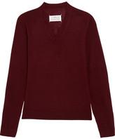 Maison Margiela Suede-paneled Wool Sweater - Burgundy