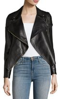 Burberry Lydbry Leather Biker Jacket, Black