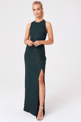Little Mistress Umran Green Hand Embellished Sequin Cut Out Maxi Dress