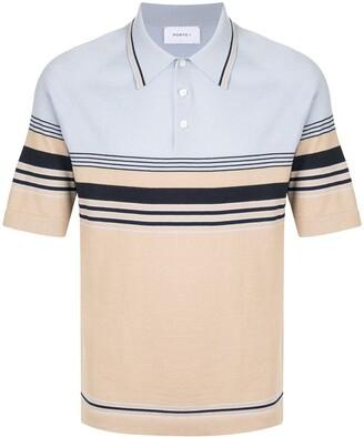 Ports V Short Sleeve Striped Print Polo Shirt
