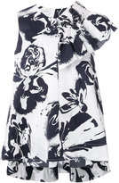 Cédric Charlier abstract print ruffled blouse