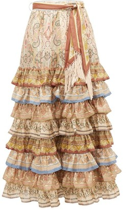 Zimmermann Freja Scarf-tie Tiered Silk Skirt - Womens - Brown Print