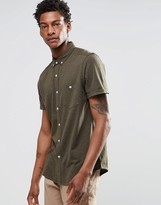 Asos Jersey Shirt In Khaki With Short Sleeves In Regular Fit