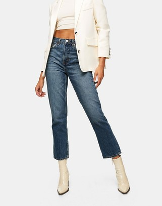 Topshop Editor straight leg jeans in mid blue