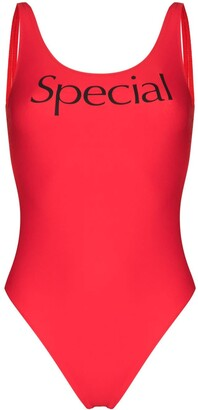More Joy Special logo print swimsuit