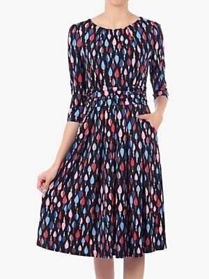 Jolie Moi Three-Quarter Sleeve Geometric Print Jersey Midi Dress, Multi