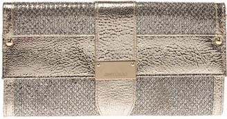 Jimmy Choo Gold Metallic Leather and Glitter Reese Clutch