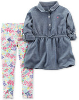 Carter's 2-Pc. Chambray Tunic & Floral-Print Leggings Set, Baby Girls (0-24 months)