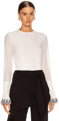 Chloé Long Sleeve Embellished Sleeve Top in White & Blue | FWRD