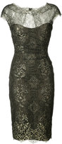 Monique Lhuillier metallic lace dress