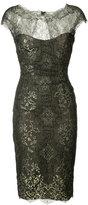 Monique Lhuillier metallic lace dress