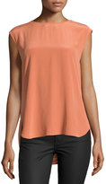 Haute Hippie Sleeveless Cowl Blouse, Rusty Nail