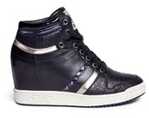 Ash 'Prince' stud high top leather wedge sneakers