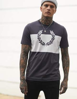 Fred Perry t-shirt with block print in grey