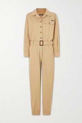 Dolce & Gabbana Belted Cotton-blend Gabardine Jumpsuit - Beige