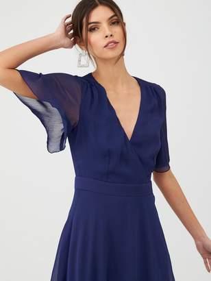 Very Soft Wrap Woven Dress - Navy