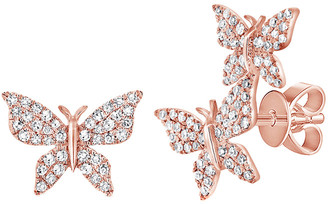 Sabrina Designs 14K Rose Gold 0.35 Ct. Tw. Diamond Butterfly Mismatched Studs