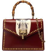 Gucci Broche glossy leather top handle bag