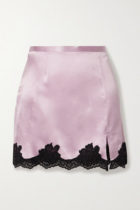 Fleur Du Mal James Lace-trimmed Silk-satin Mini Skirt - Lilac