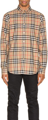 Burberry Long Sleeve Shirt in Archive Beige Check | FWRD