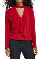 WAYF Shae Mock Neck Ruffle Wrap Blouse
