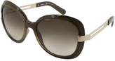 Chloé Gray & Green Gradient Oversize Sunglasses