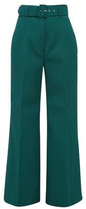 Emilia Wickstead Jana High-waisted Cloque Trousers - Womens - Dark Green