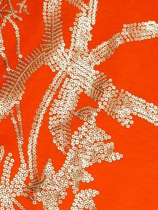 Joan Vass, Plus Size Embroidered Leaf Big T-Shirt