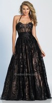 Dave and Johnny Sheer Beaded Damask Print A-line Prom Dress